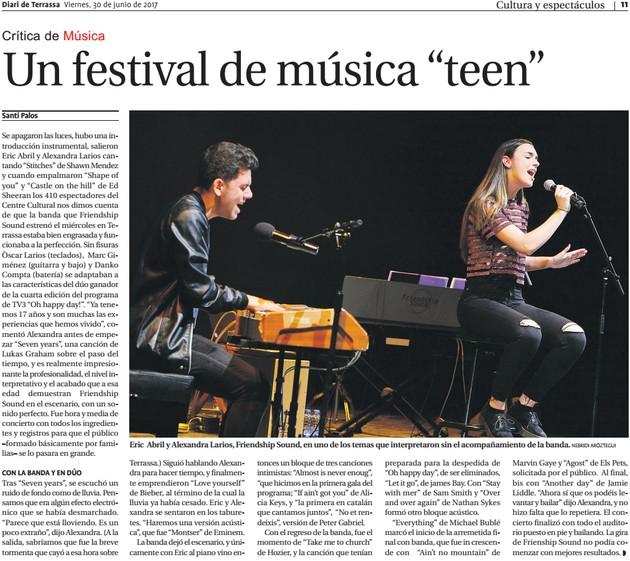 "Diari de Terrassa: Friendship Sound: Un festival de música ""teen"""