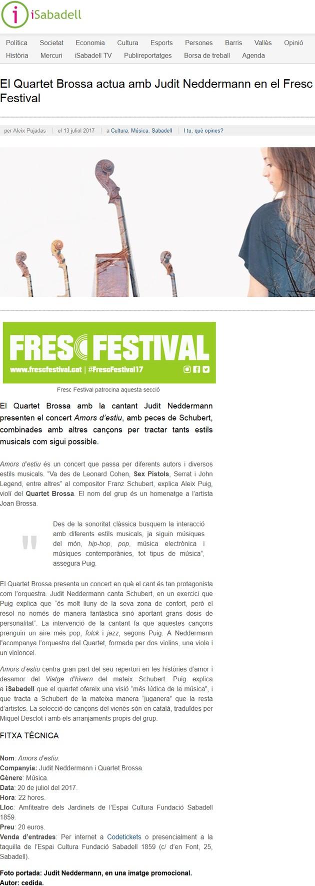 iSabadell: El Quartet Brossa actua amb Judit Neddermann en el Fresc Festival