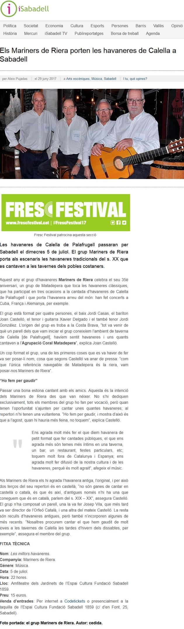 iSabadell: Els Mariners de Riera porten les havaneres de Calella a Sabadell