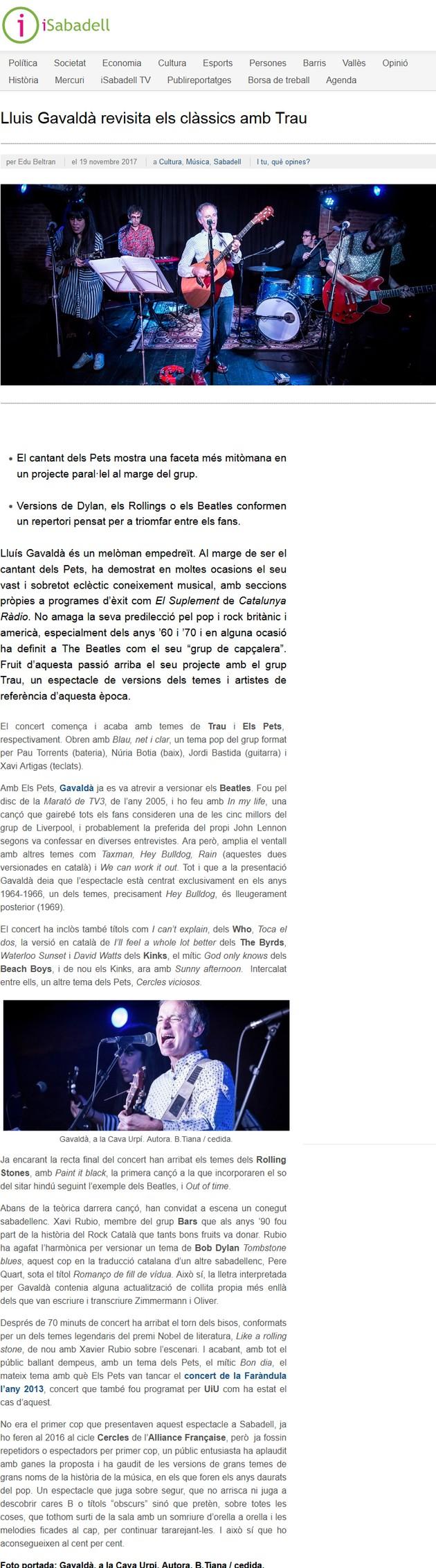 iSabadell: Lluis Gavaldà revisita els clàssics amb Trau