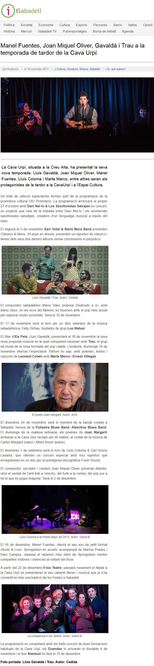 iSabadell: Manel Fuentes, Joan Miquel Oliver, Gavaldà i Trau a la temporada de tardor de la Cava Urpí