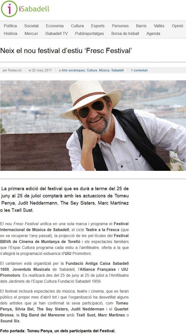 iSabadell: Neix el nou festival d'estiu 'Fresc Festival'