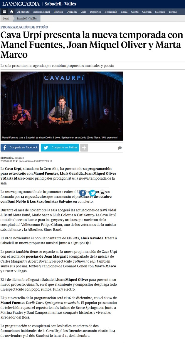 La vanguardia: Cava Urpí presenta la nueva temporada con Manel Fuentes, Joan Miquel Oliver y Marta Marco