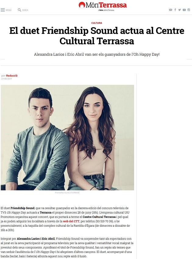 Món Terrassa: El duet Friendship Sound actua al Centre Cultural Terrassa