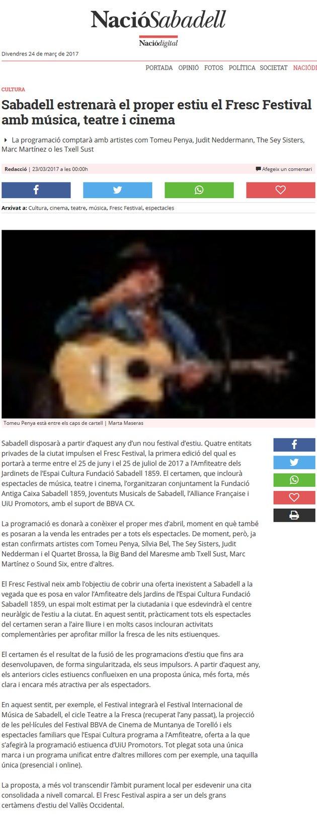 Nació Digital: Sabadell estrenarà el proper estiu el Fresc Festival amb música, teatre i cinema