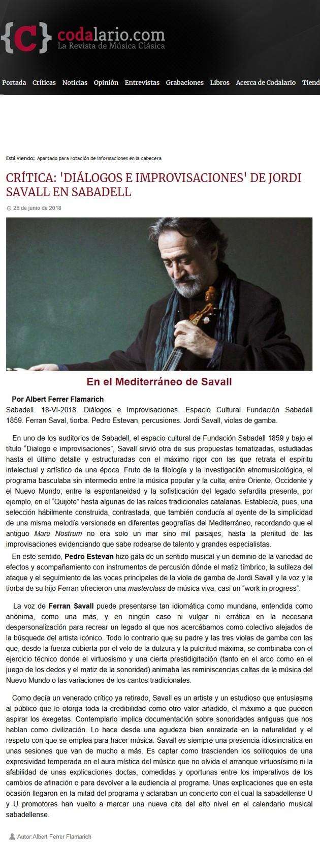 Codalario: Crítica 'Diálogos e Improvisaciones' de Jordi Savall en Sabadell