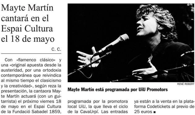 Diari de Sabadell: Mayte Martín  cantará en el  Espai Cultura  el 18 de mayo