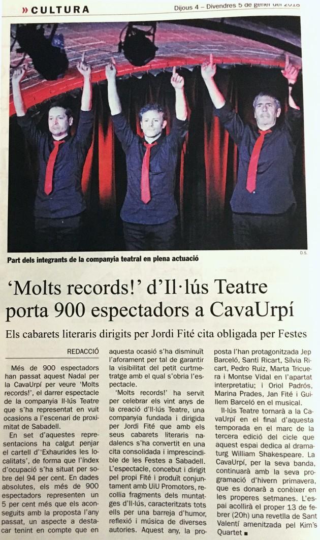 """Diari de Sabadell: """"Molts records"""" d'Il·lús Teatre porta 90 espectadors a CavaUrpí"""
