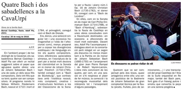 Diari de Sabadell: Quatre Bach i dos  sabadellencs a la  CavaUrpí