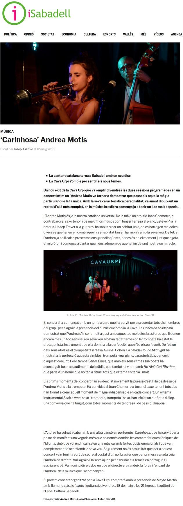 iSabadell: 'Carinhosa' Andrea Motis
