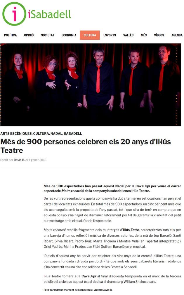 iSabadell: Més de 900 persones celebren els 20 anys d'Il·lús Teatre