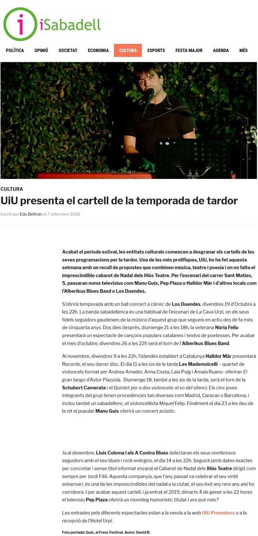 iSabadell: UiU presenta el cartell de la temporada de tardor
