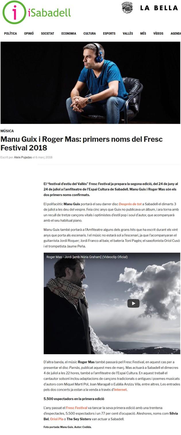 iSabadell: Manu Guix i Roger Mas: primers noms del Fresc Festival 2018