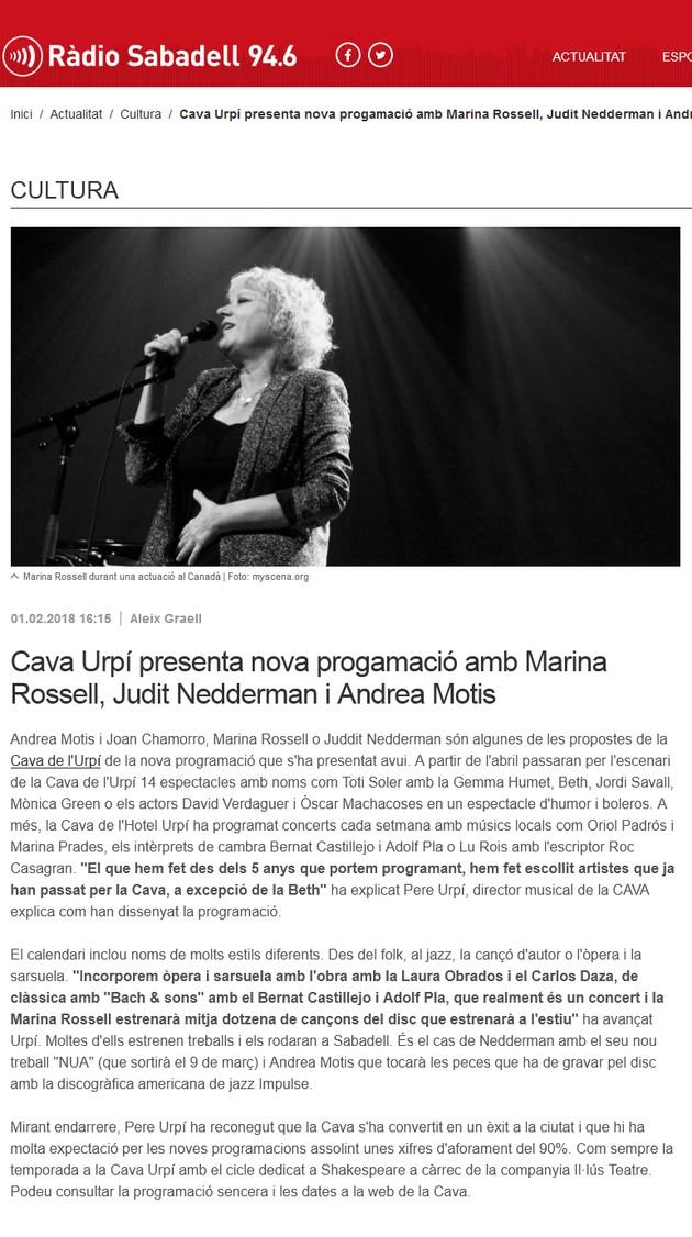 Ràdio Sabadell: Cava Urpí presenta nova progamació amb Marina Rossell, Judit Nedderman i Andrea Motis