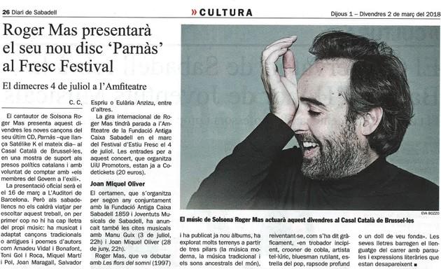"""Diari de Sabadell: Roger Mas presentarà el seu nou disc """"Parnàs"""" al Fresc Festival"""