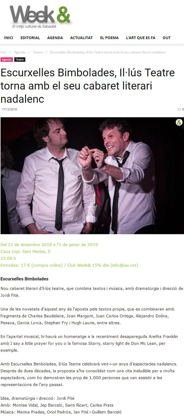 Weekand: Escurxelles Bimbolades, Il·lús Teatre torna amb el seu cabaret literari nadalenc