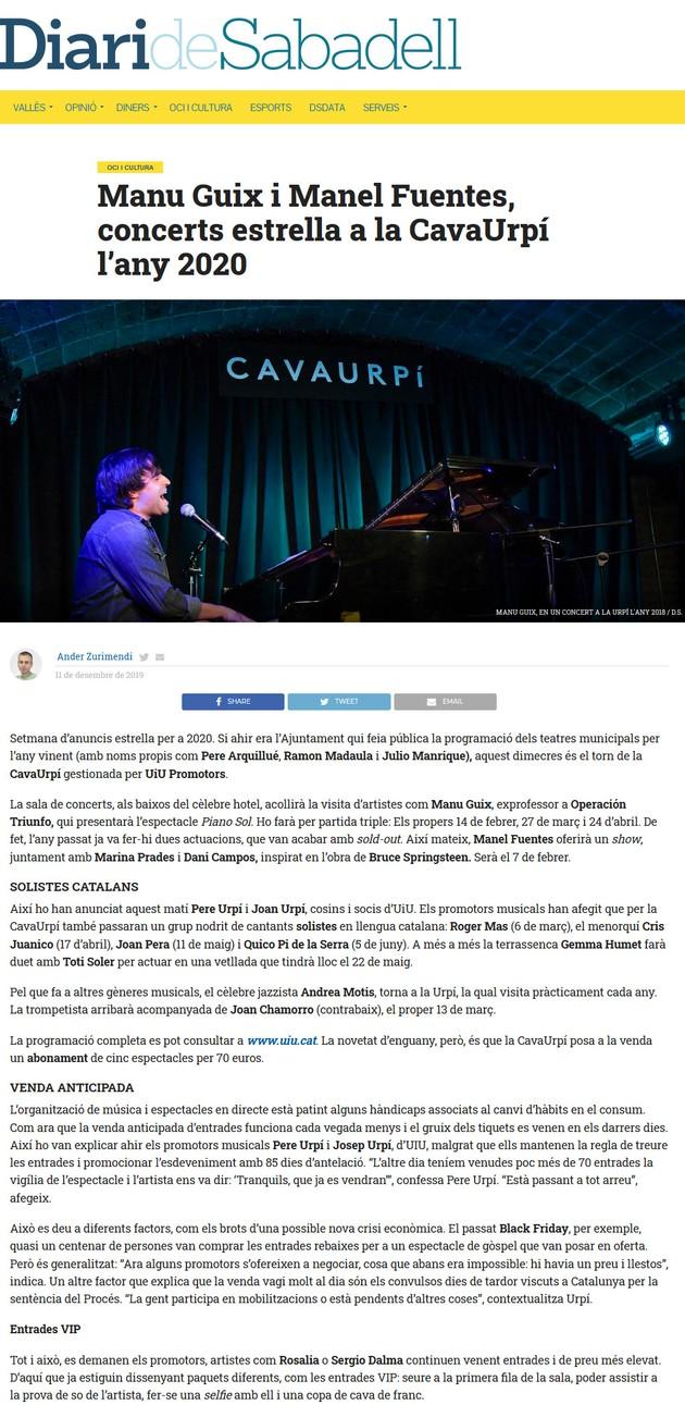 Diari de Sabadell: Manu Guix i Manel Fuentes, concerts estrella a la CavaUrpí l'any 2020